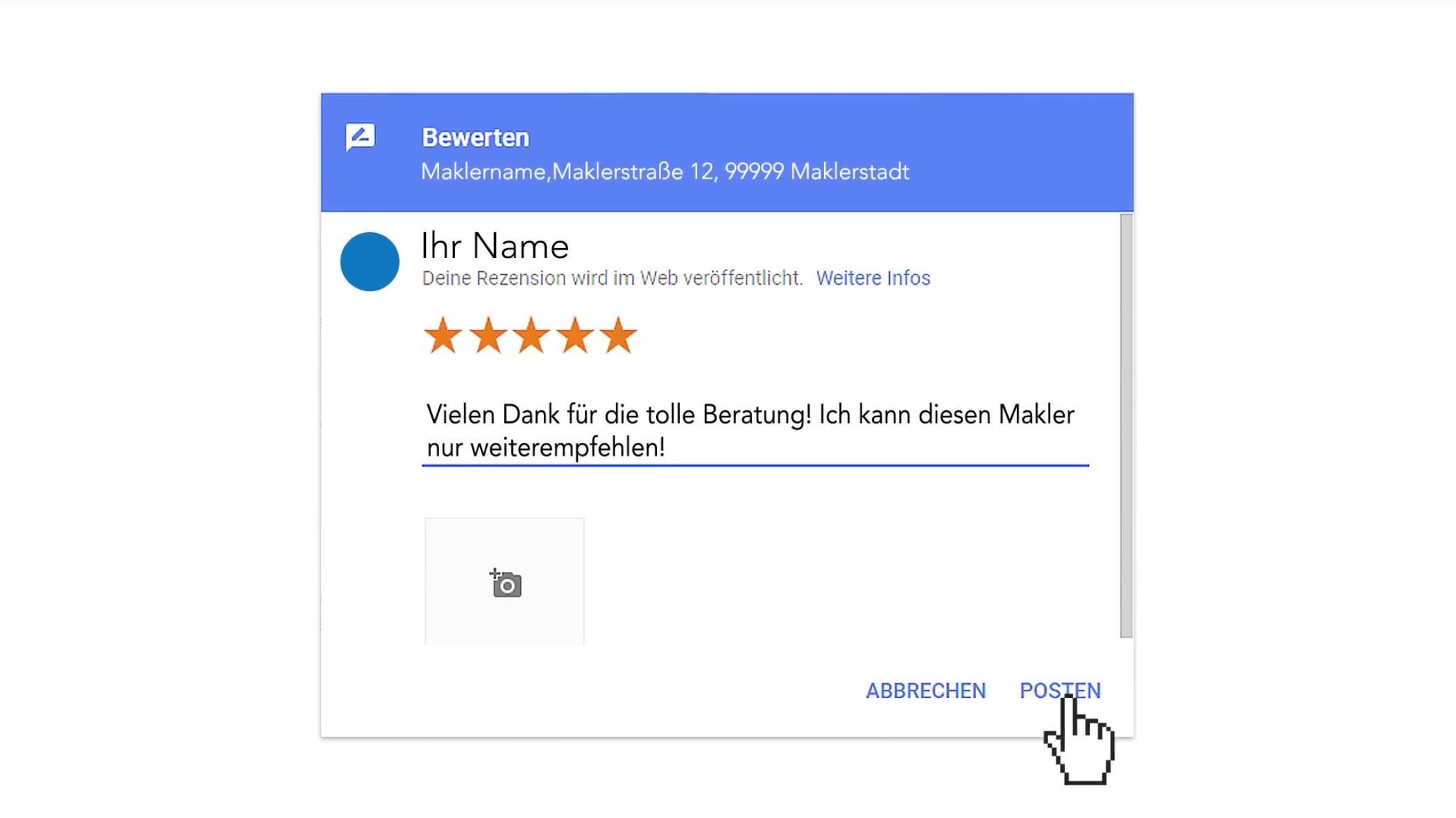 Video-Einladung zur Google-Bewertung